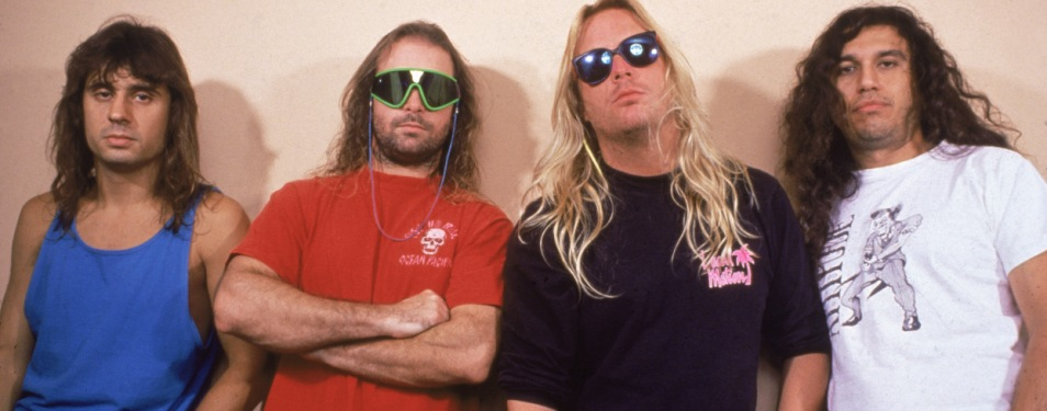 Promotional portrait of American thrash metal band Slayer, late 1980s