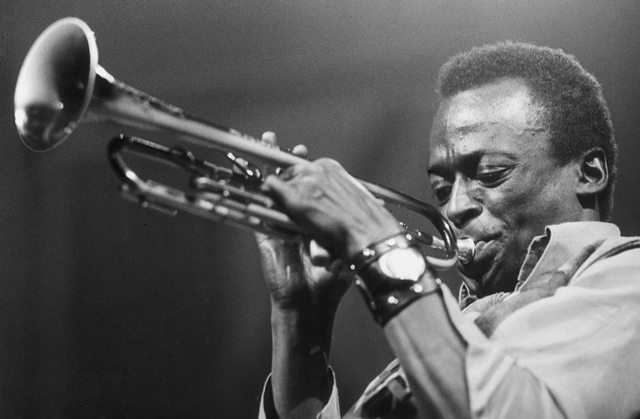 American jazz musician and composer Miles Davis (1926 - 1991) playing the trumpet