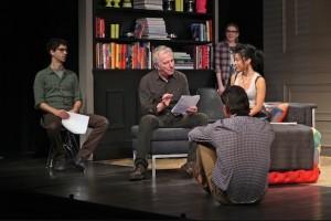 Hamish Linklater, Alan Rickman, Lily Rabe, Hettienne Park e Jerry O'Connell em Seminar, no Golden Theatre. Photo: Jeremy Daniel