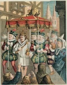 """Ilustração do conto dinamarquês """"Kejserens nye Klæder"""" (O Rei Vai Nu)."""