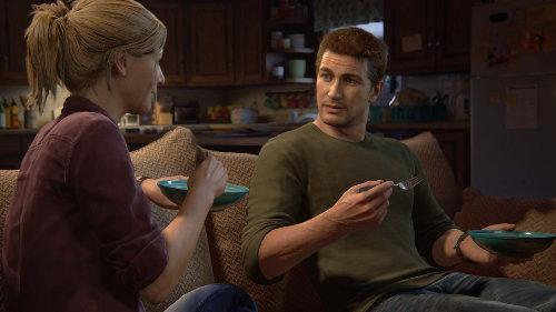 Elena Fisher (Emily Rose) e Nathan Drake (Nolan North) em Uncharted 4