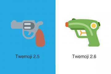 Emoji de pistola do Twitter (versão anterior e nova versão)