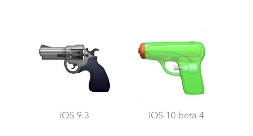 Emoji de pistola no iOS 9.3 (revólver) e no iOS 10 (pistola de água)