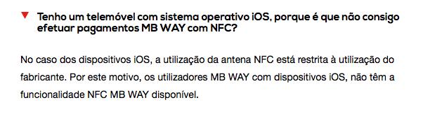 Resposta na FAQ do MB Way face à limitação do NFC em iOS