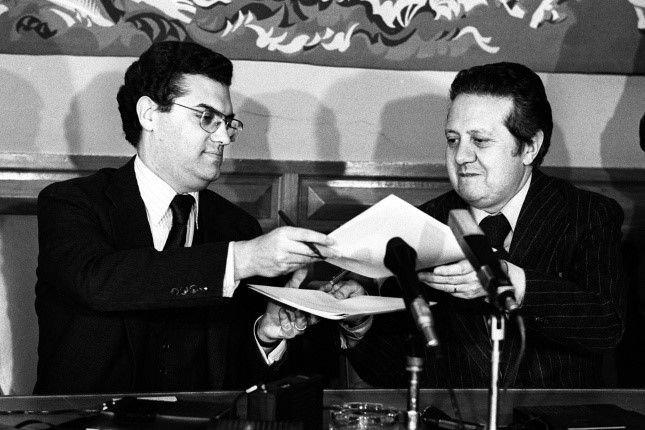 Diogo Freitas do Amaral e Mário Soares.