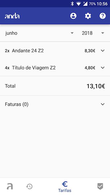 Ecrã de tarifas da aplicação Anda