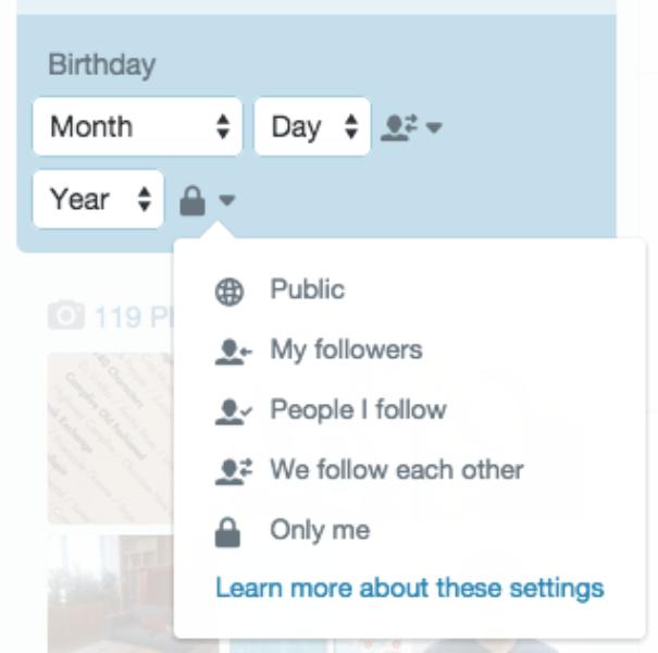 Campo de aniversário no Twitter