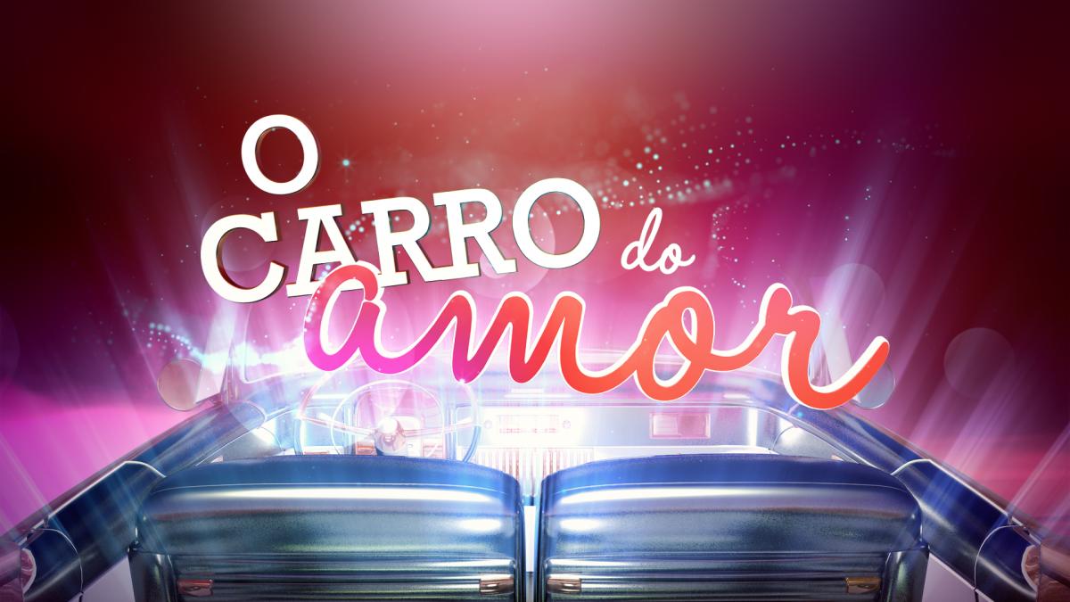 Logotipo do programa O Carro do Amor, imagem de um carro cinzento num fundo cor de rosa com as palavras O Carro do Amor escritas a branco e vermelho