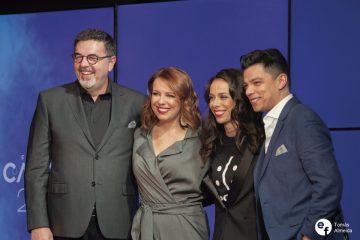José Carlos Malato, Tânia Ribas de Oliveira, Filomena Cautela e Vasco Palmeirim na conferência de imprensa do Festival da Canção 2019