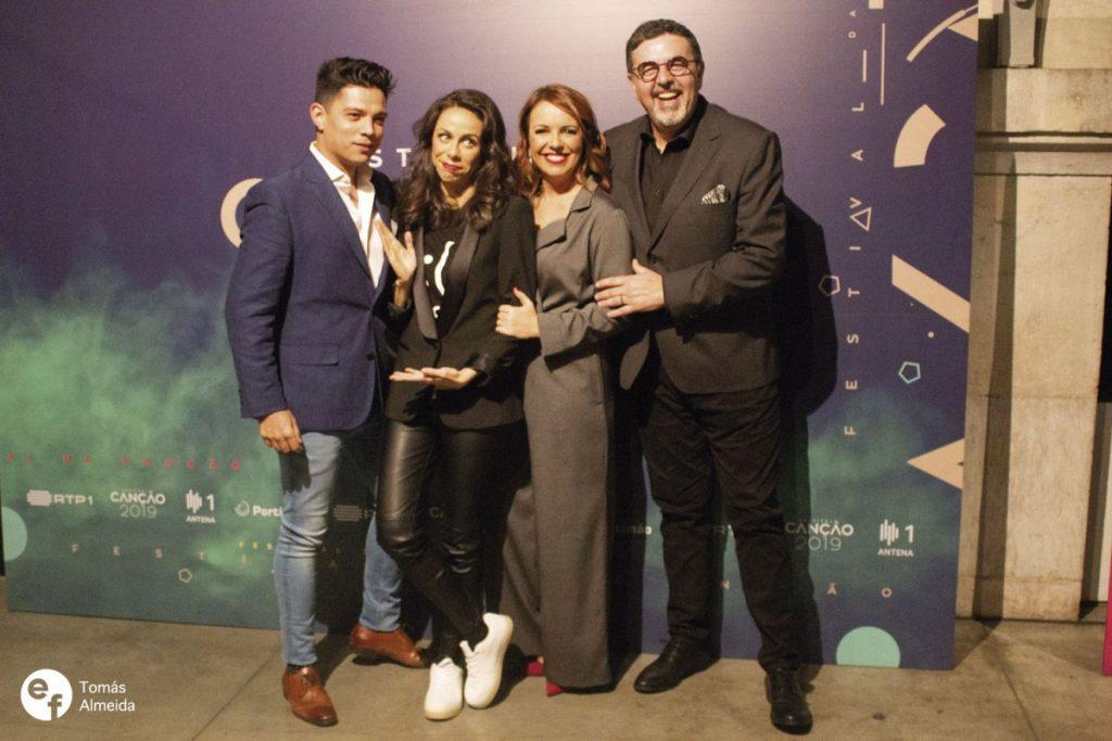 Vasco Palmeirim, Filomena Cautela, Tânia Ribas de Oliveira e José Carlos Malato na conferência de imprensa do Festival da Canção 2019