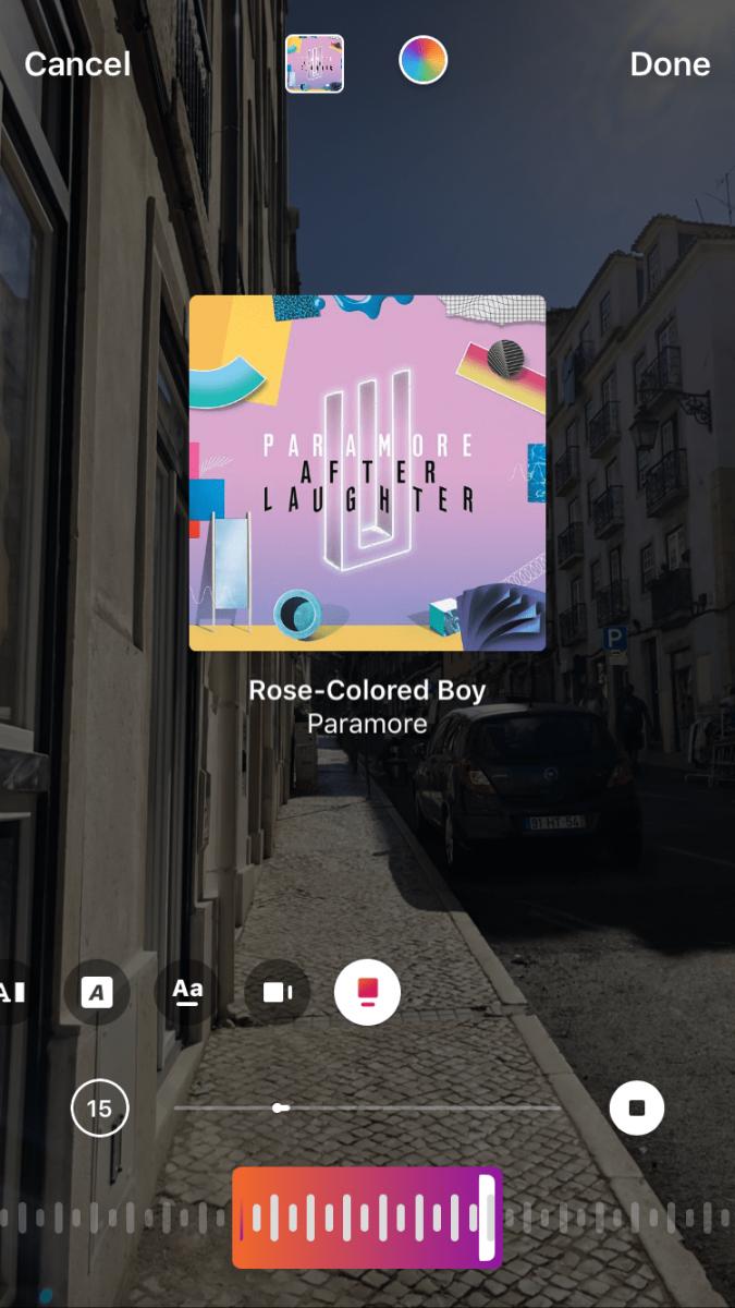 Letras de música em Instagram Stories