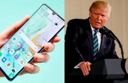 Donald Trump e smartphone da Huawei