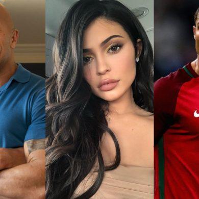 Dwayne Johnson, Kylie Jenner e Cristiano Ronaldo