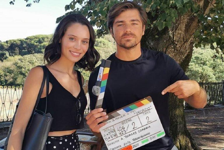 Daniela Melchior e Lourenço Ortigão nas gravações de Pecado