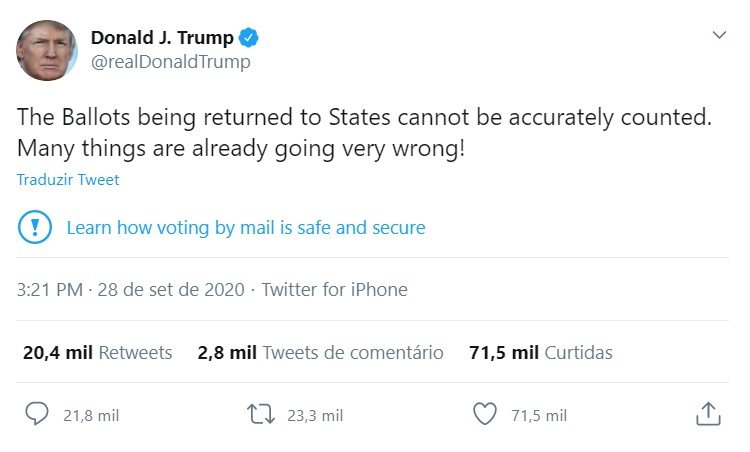 tweet trump biden debate eleições eua